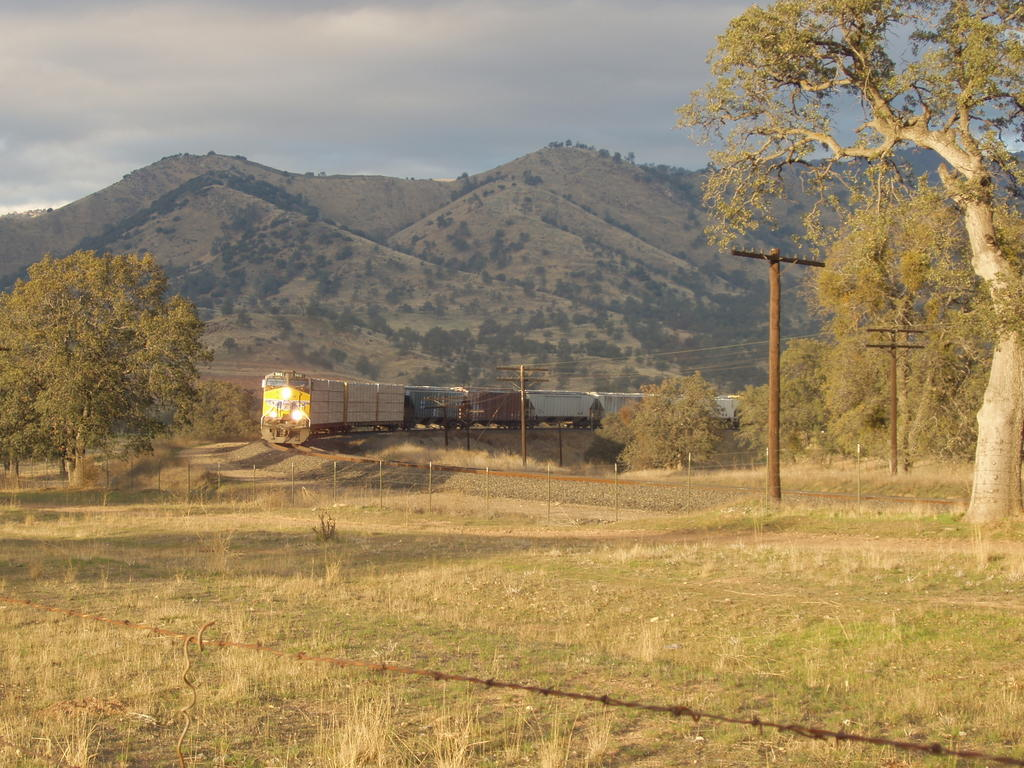 Train on the Tehachapi Loop in Soft Light of Sunset