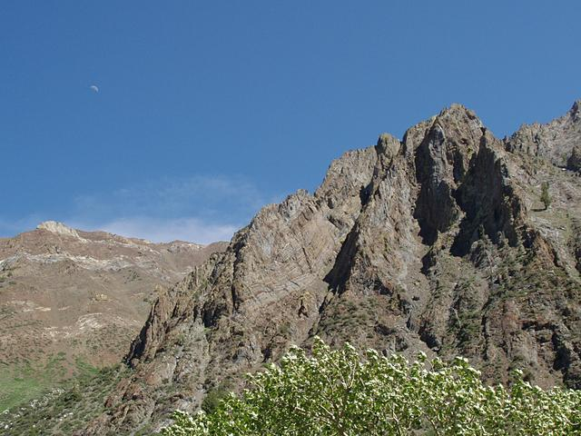 Folded Rock Layers and Moon at McGee Creek