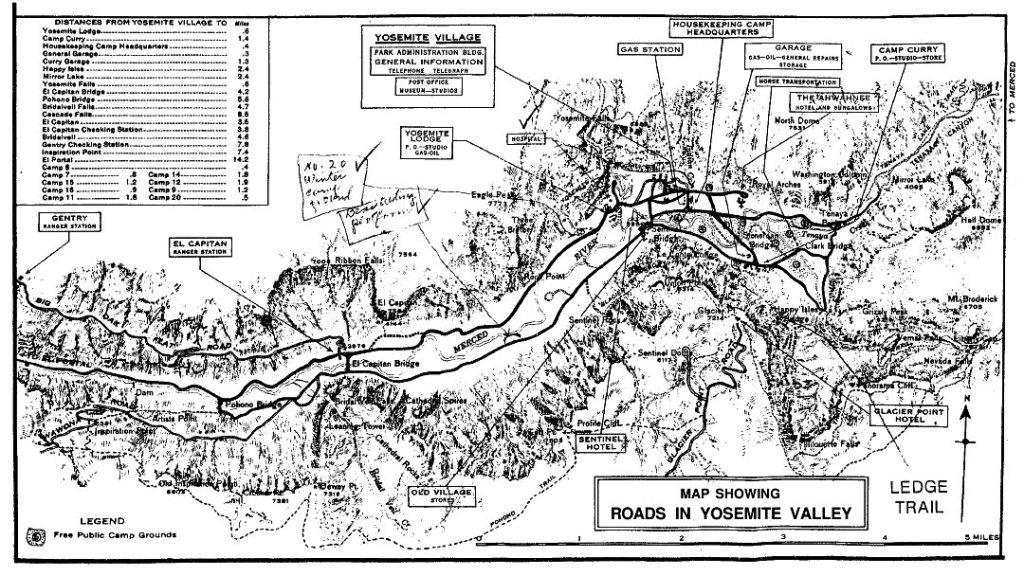 Yosemite Valley Road Map, 1929