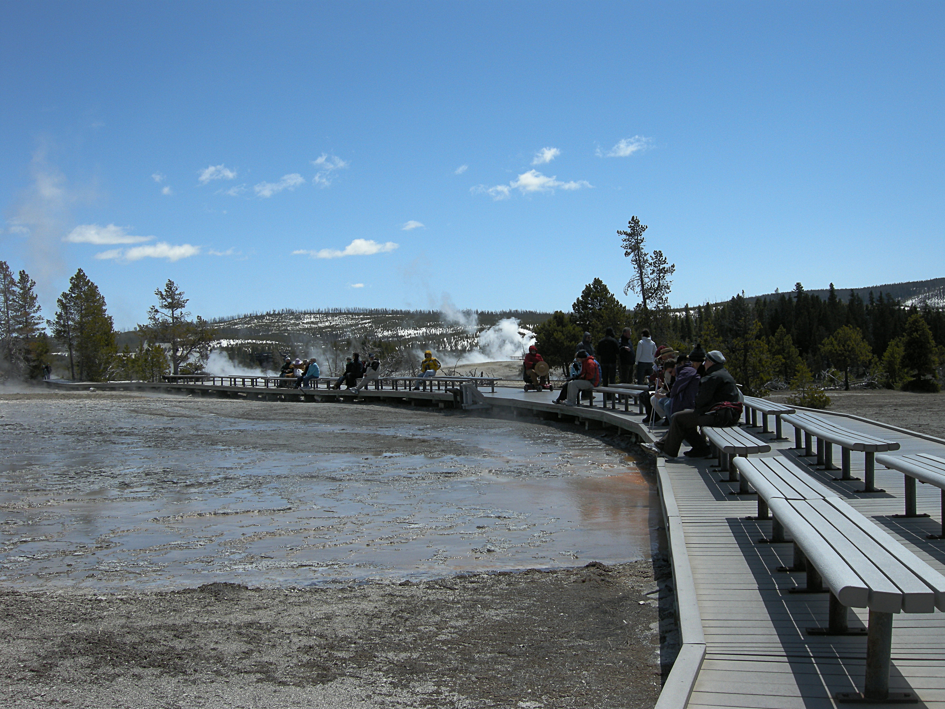 Waiting for Grand Geyser to erupt