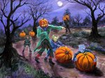 Halloween Pumpkin Roll Painting by SKE. acrylic painting on canvas