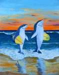 Shark Surfers (acrylic painting on canvas board)