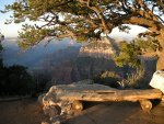 Bench and Sunrise, North Rim near Bright Angel Point