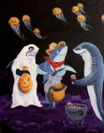 Trick or Treat Shark Style (acrylic painting on canvas board)
