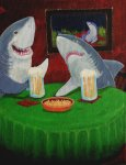 """Sharks on a Date"" (acrylic painting on canvas board)"