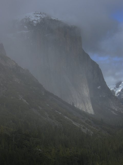 Snow on El Capitan with Clouds and Fog