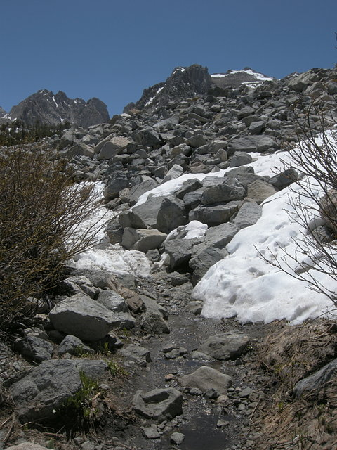 Melting snow on the Kearsarge Pass Trail