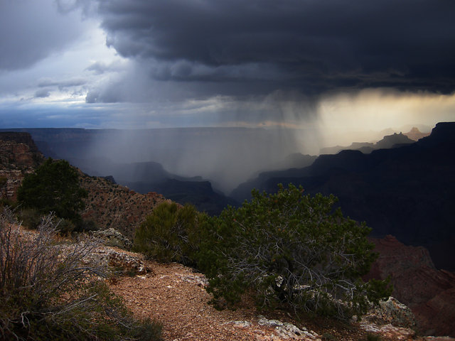 Rain falling over the Canyon