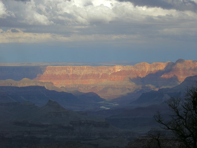 Grand Canyon, Colorado River, Clouds and Sun