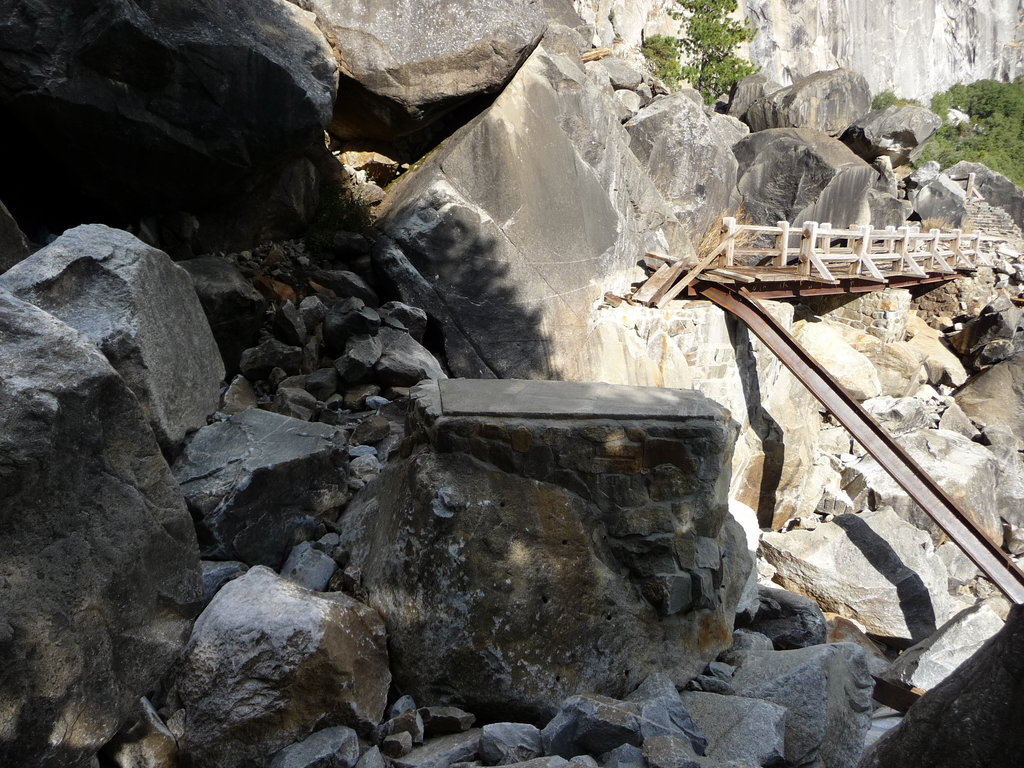 Smashed bridge at Wapama Falls by Hetch Hetchy.