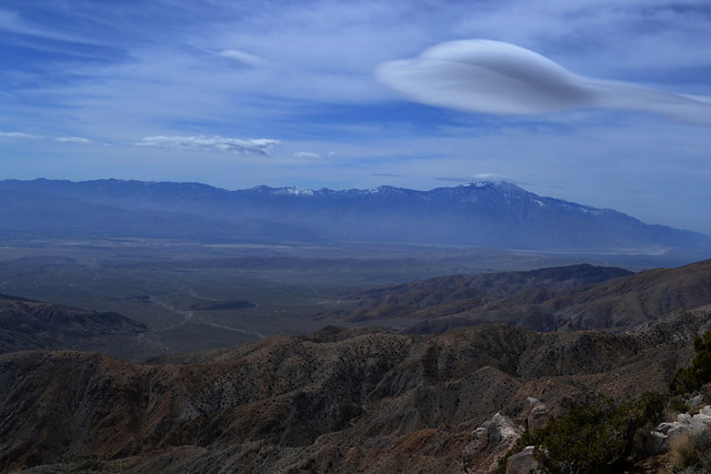San Jacinto from Keys View in Joshua Tree National Park and lenticular clouds
