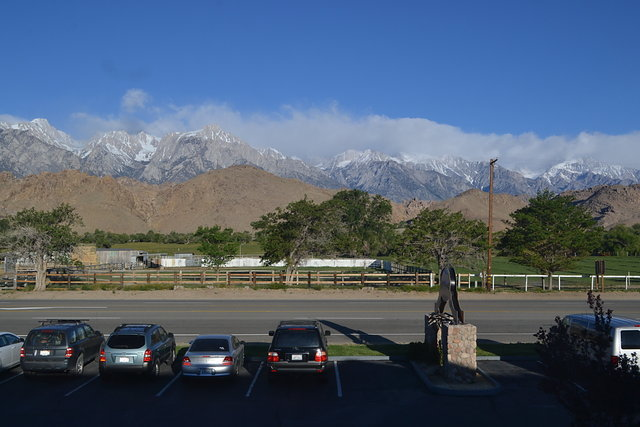Morning view from hotel room in Lone Pine