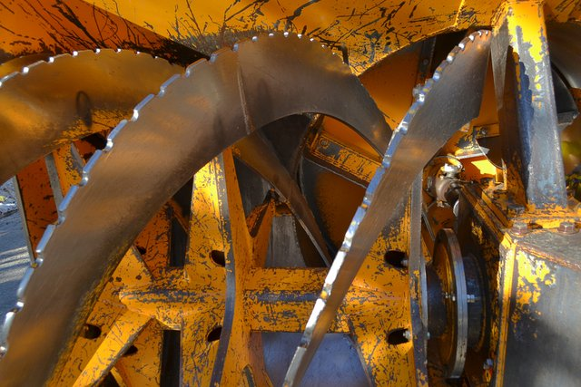 Rotary snowplow blades on plow used to open Tioga Road