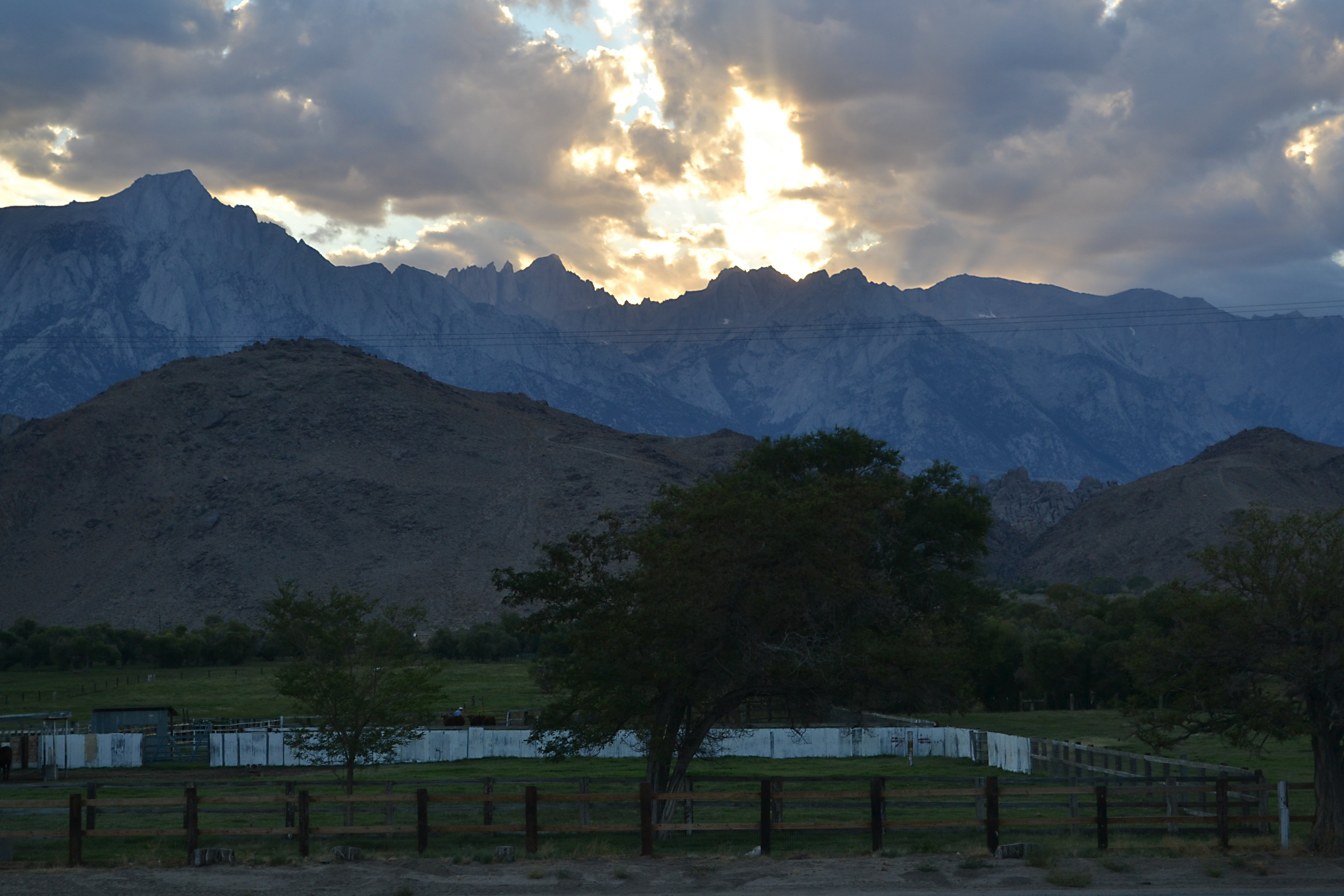 Sun rays and Mount Whitney