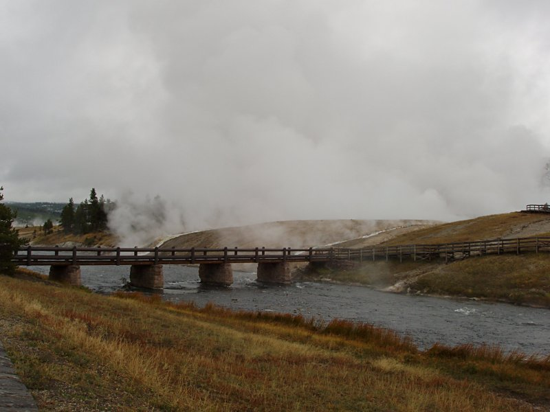 Footbridge to Midway Geyser Basin and the Excelsior Geyser Crater