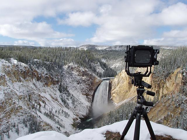 Lower Yellowstone Falls with Snow and View Camera