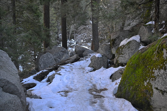 Hard snow and ice on the John Muir Trail