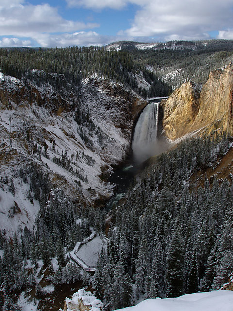 Lower Yellowstone Falls With Snow