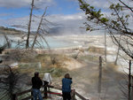 Taking pictures at Mammoth Hot Springs