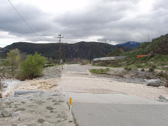 Flooding at Swarthart Canyon Road in Cajon Pass