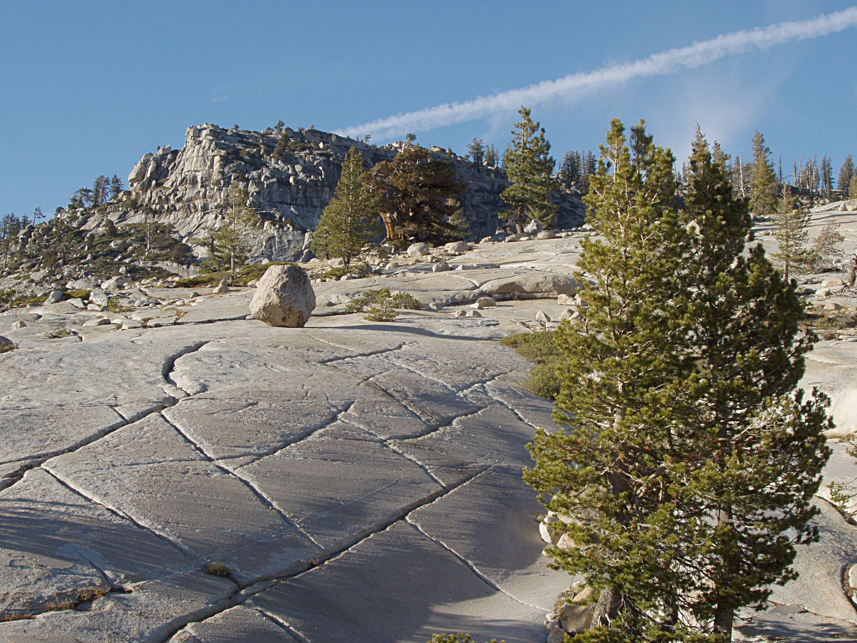 Glacial Polish and Erratic Boulder in Yosemite High Country
