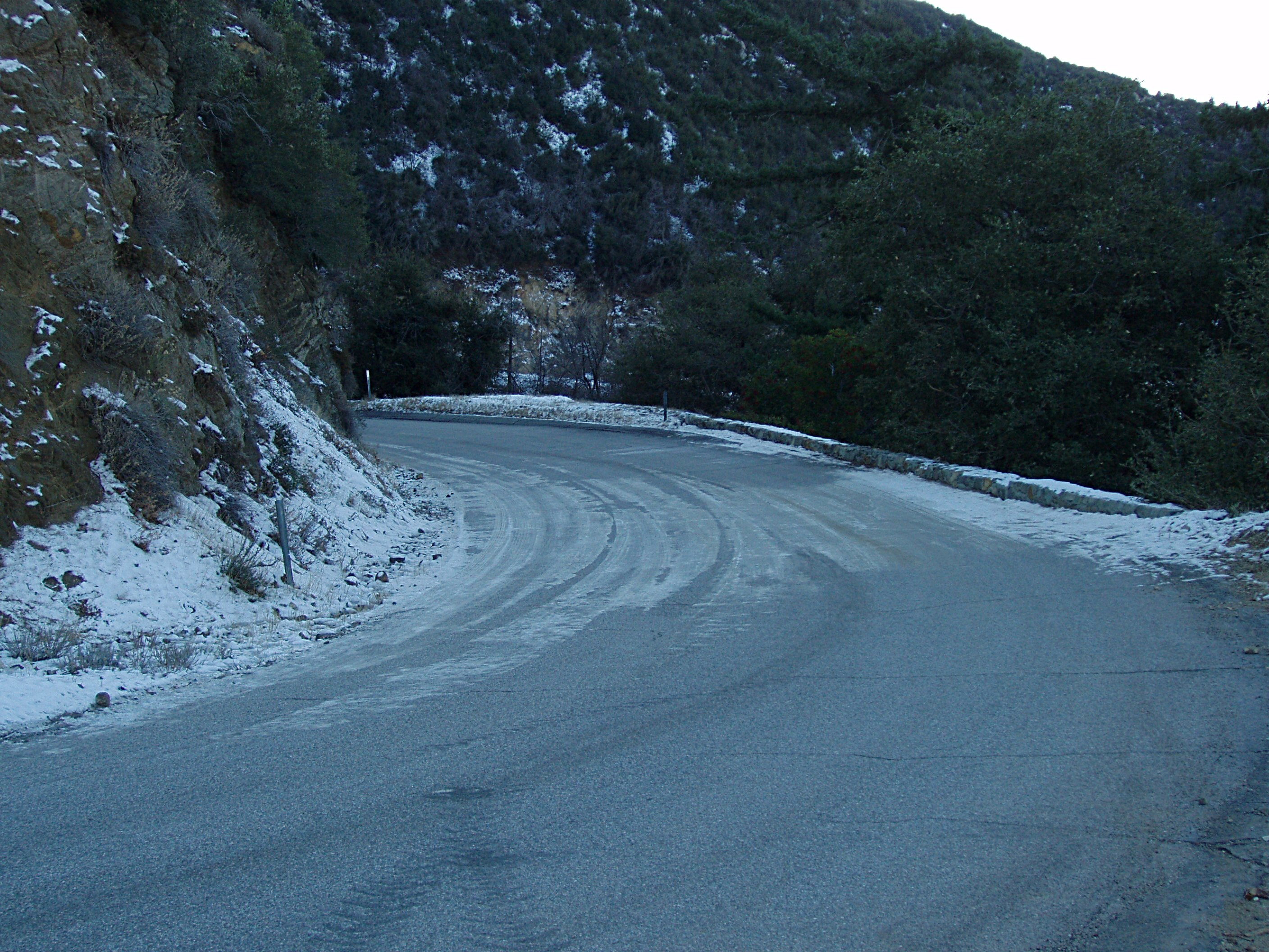 Glendora Ridge Road with Ice and Snow