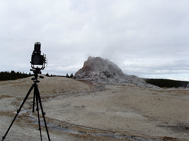View Camera and White Dome Geyser