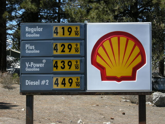 Gas Prices at the June Lake Junction, April 2008