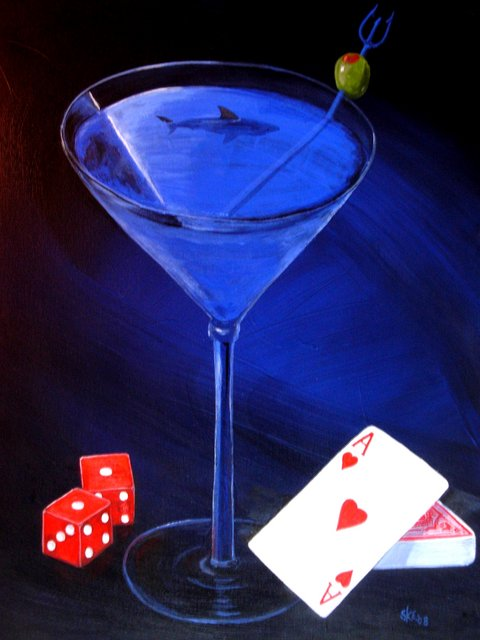 "Shark Martini ""Sharktini"" with cards and dice"