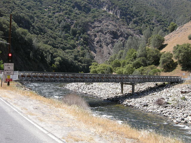 Temporary bridge over the Merced River at the slide on Highway 140